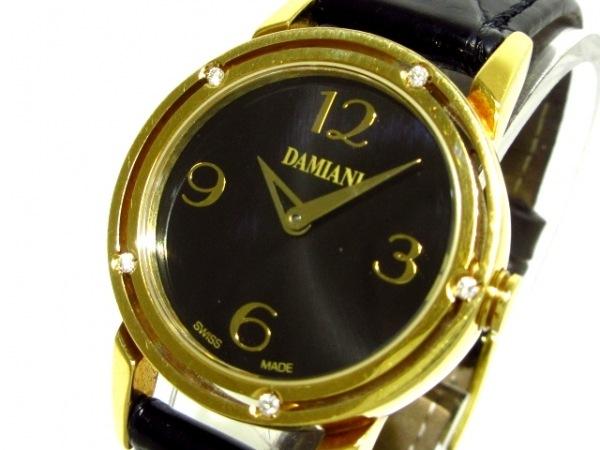 ダミアーニ 腕時計 Dサイド DS006N3AL レディース K18YG/革ベルト/5Pダイヤベゼル 黒