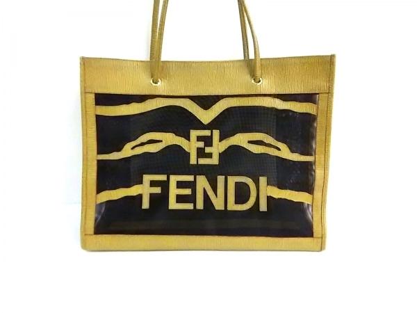 FENDI(フェンディ) トートバッグ - - 黒×ライトブラウン PVC(塩化ビニール)×レザー