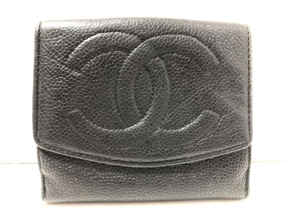 CHANEL(シャネル) 2つ折り財布 - 黒 ココマーク キャビアスキン
