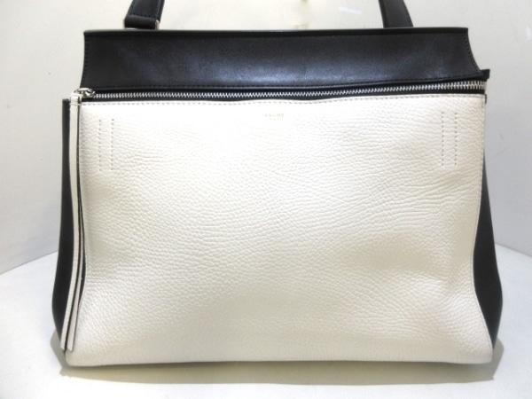 CELINE(セリーヌ) ハンドバッグ美品  エッジ 白×黒 レザー