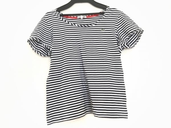 Lacoste(ラコステ) 半袖Tシャツ レディース 白×ダークネイビー ボーダー