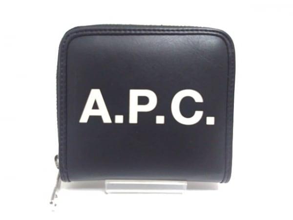 A.P.C.(アーペーセー) 2つ折り財布美品  黒×アイボリー ラウンドファスナー レザー