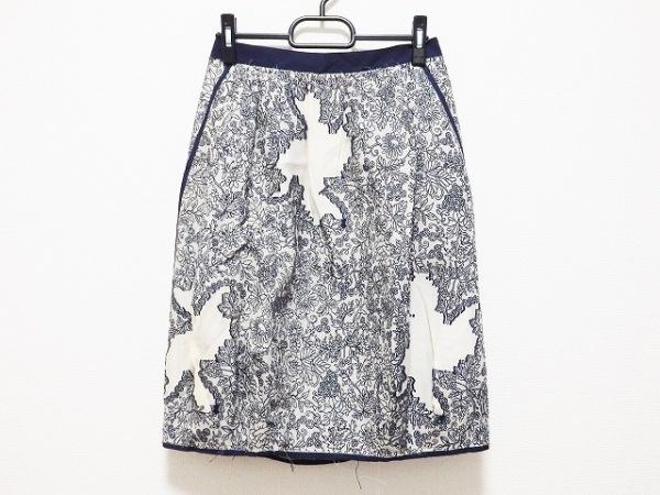 フィロディセタ スカート サイズ38 M レディース ベージュ×ネイビー 花柄