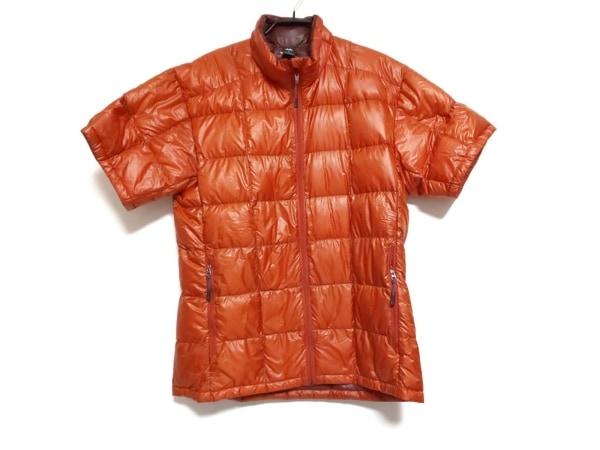 モンベル ダウンジャケット サイズM メンズ オレンジ ジップアップ/半袖/春・秋物