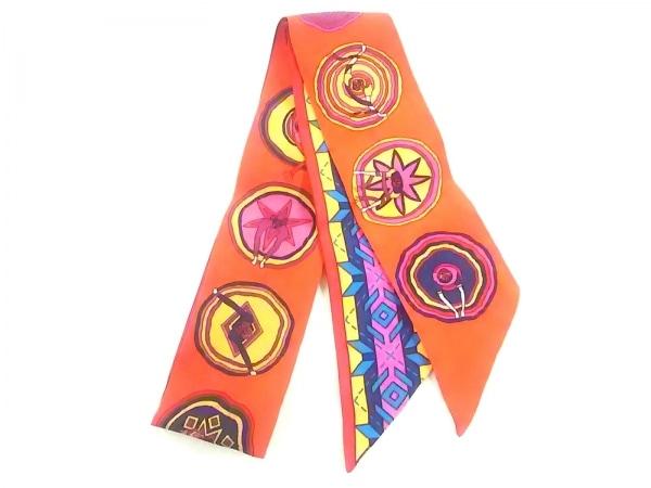 HERMES(エルメス) スカーフ美品  ツィリー ピンク×レッド×マルチ