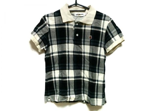 ア ベイシング エイプ 半袖ポロシャツ サイズXS レディース美品  白×黒×ネイビー