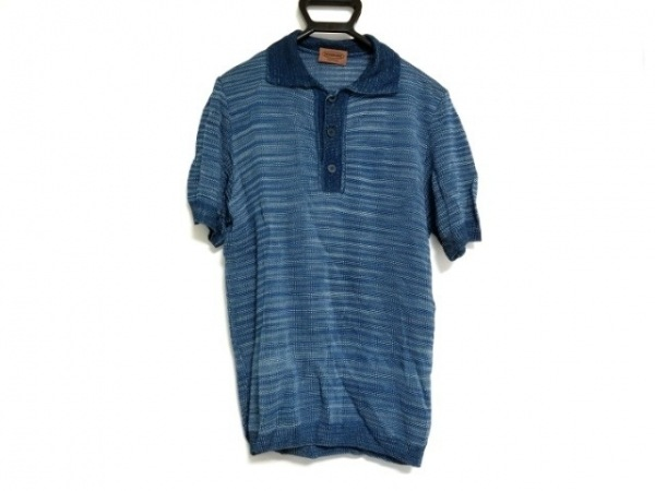 MISSONI(ミッソーニ) 半袖ポロシャツ サイズ48 M メンズ ブルー×ライトブルー ニット
