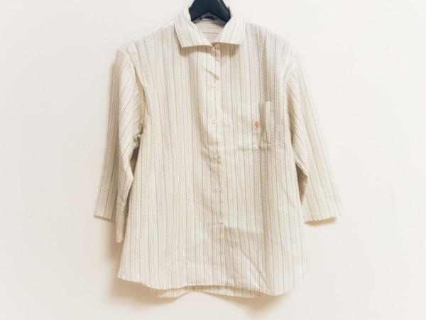 FUKUZO(フクゾー) 七分袖シャツブラウス レディース 白×ライトグリーン×マルチ