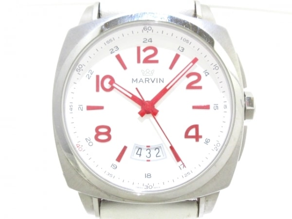 MARVIN(マーヴィン) 腕時計美品  M022-13 メンズ 革ベルト 白