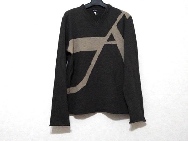 アルマーニジーンズ 長袖セーター サイズL メンズ ダークブラウン×ベージュ