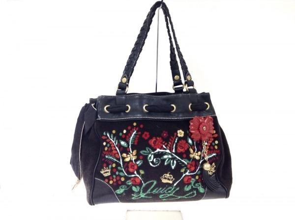 ジューシークチュール ショルダーバッグ 黒×レッド×マルチ 花柄/刺繍