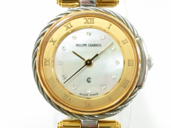 フィリップシャリオール 腕時計美品  - レディース 12Pダイヤ/シェル文字盤