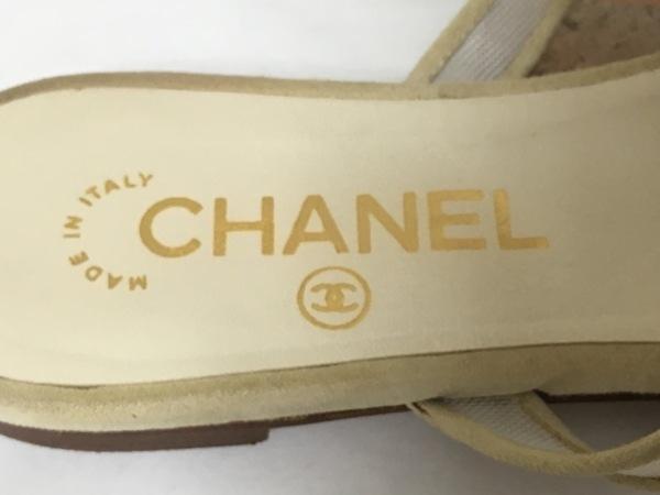 CHANEL(シャネル) ビーチサンダル 36 レディース アイボリー×ベージュ カメリア