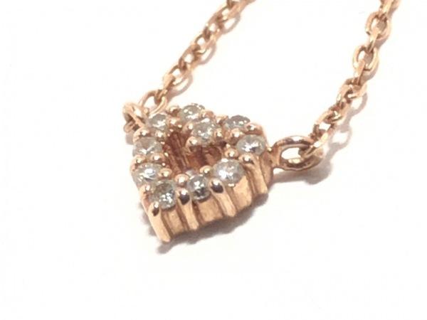 canal4℃(カナルヨンドシー) ネックレス美品  K10PG×ダイヤモンド ハート
