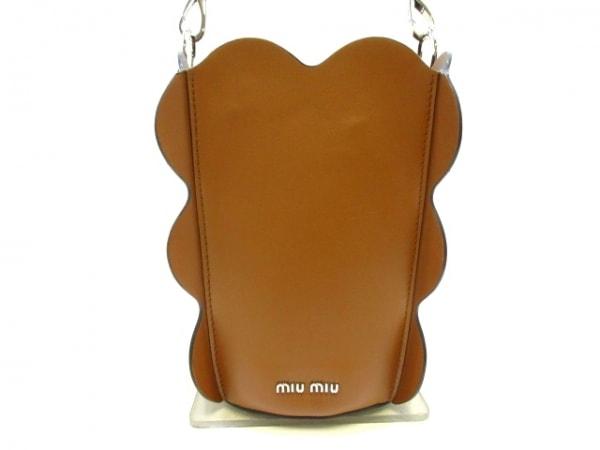 ミュウミュウ ハンドバッグ美品  - 5BE016 ブラウン バケツ型 ソフトカーフレザー