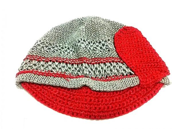ヴィヴィアンウエストウッドアクセサリーズ 帽子美品  グレー×レッド ハート/ラメ