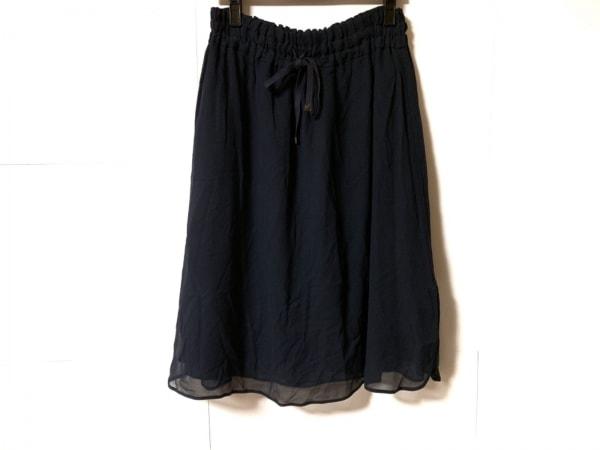 ウィムガゼット スカート サイズ38 M レディース美品  ダークネイビー シルク