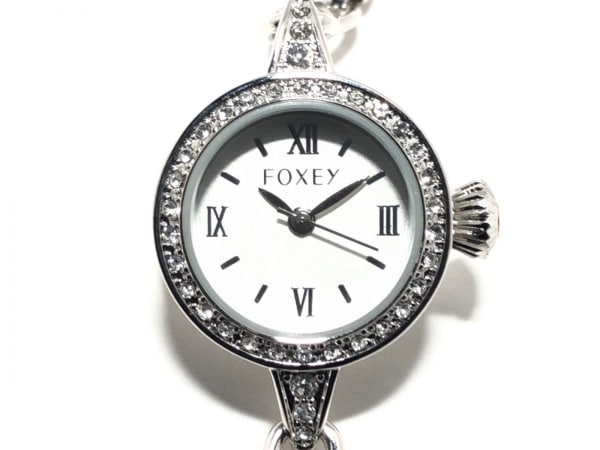FOXEY(フォクシー) 腕時計美品  - レディース ラインストーンベゼル シルバー