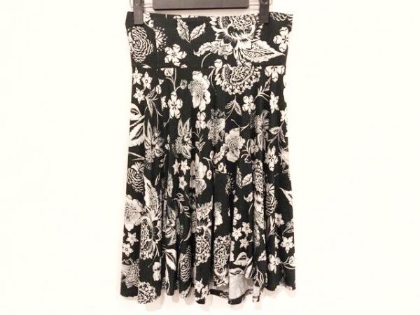 three dots(スリードッツ) スカート サイズXS レディース 黒×白 花柄/ウエストゴム