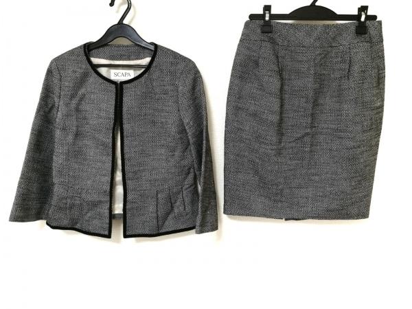 Scapa(スキャパ) スカートスーツ レディース 黒×ライトグレー