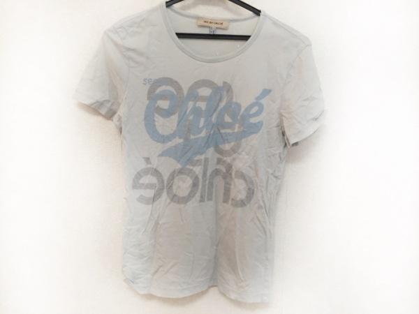 シーバイクロエ 半袖Tシャツ サイズ38 M レディース美品  ライトブルー×ライトグレー