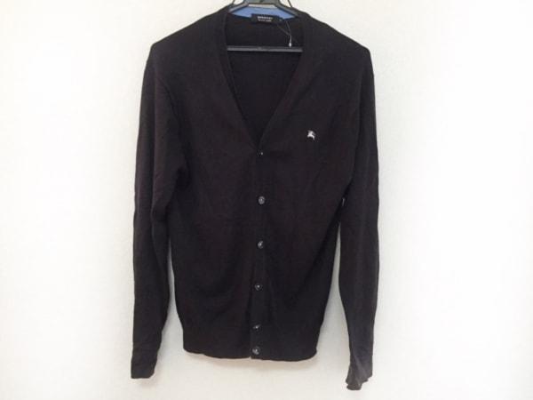 バーバリーブラックレーベル カーディガン サイズ2 M メンズ美品  黒×白 ニット