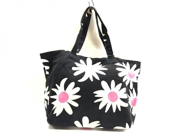 marimekko(マリメッコ) ショルダーバッグ 黒×アイボリー×ピンク 花柄 キャンバス