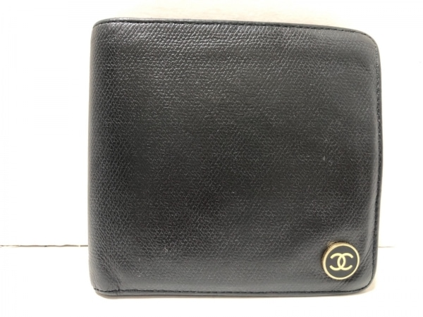 CHANEL(シャネル) 2つ折り財布 ココボタン 黒×ゴールド レザー