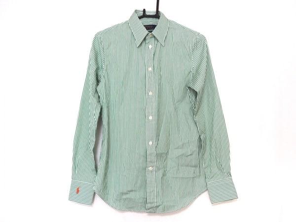 ポロラルフローレン 長袖シャツブラウス サイズ4 S レディース美品  白×グリーン