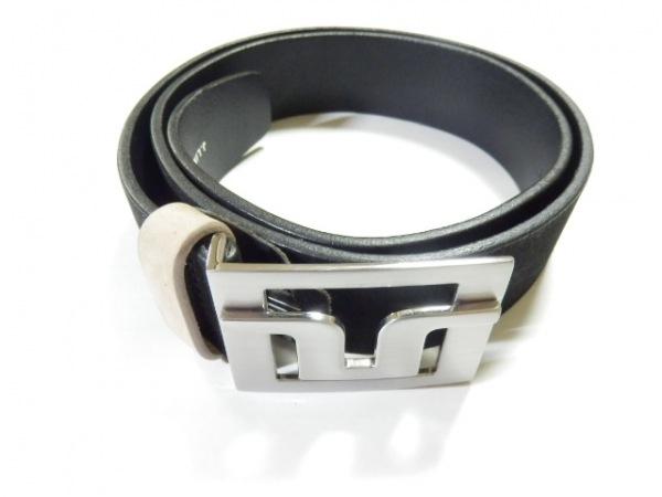J.LINDEBERG(ジェイリンドバーグ) ベルト 32/90 黒×シルバー レザー×金属素材
