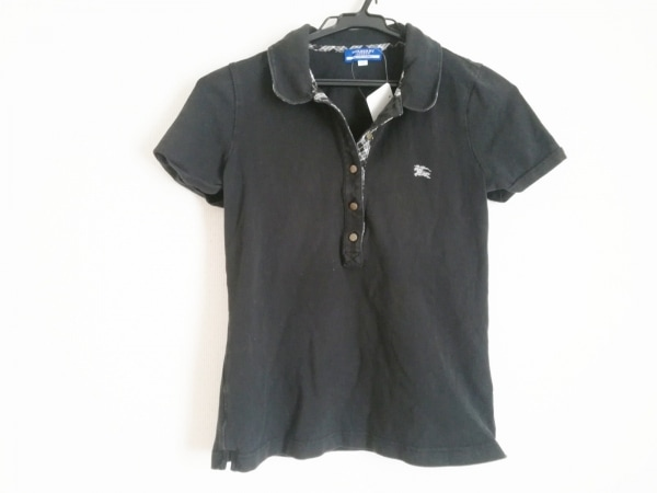 バーバリーブルーレーベル 半袖ポロシャツ サイズ38 M レディース 黒