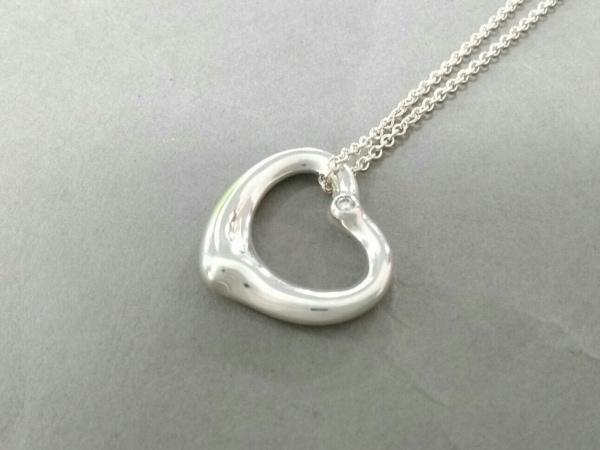 ティファニー ネックレス美品  オープンハート シルバー×ダイヤモンド 1Pダイヤ
