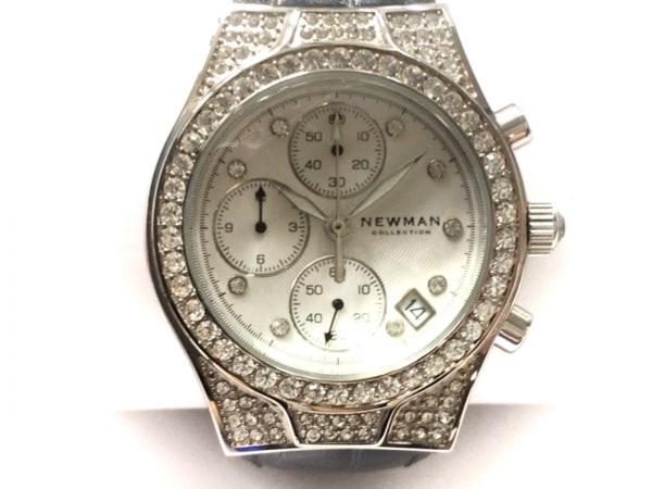 NEWMAN(ニューマン) 腕時計 - メンズ 革ベルト/クロノグラフ/ラインストーン 白
