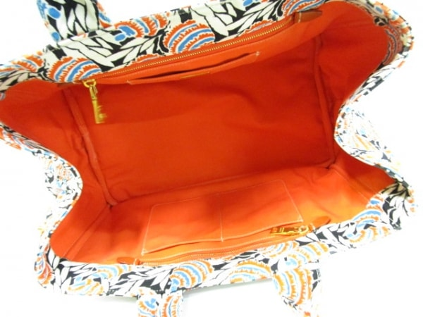 PRADA(プラダ) トートバッグ CANAPA 白×黒×マルチ キャンバス 5