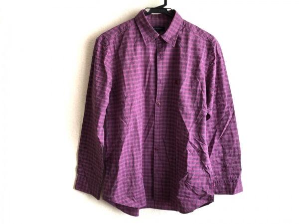 バーバリーロンドン 長袖シャツ サイズM メンズ パープル×黒×マルチ チェック柄