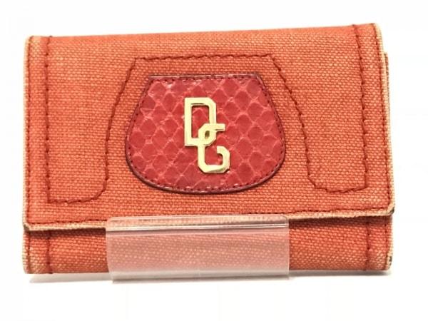 DOLCE&GABBANA(ドルチェアンドガッバーナ) 2つ折り財布 オレンジ×レッド 型押し加工