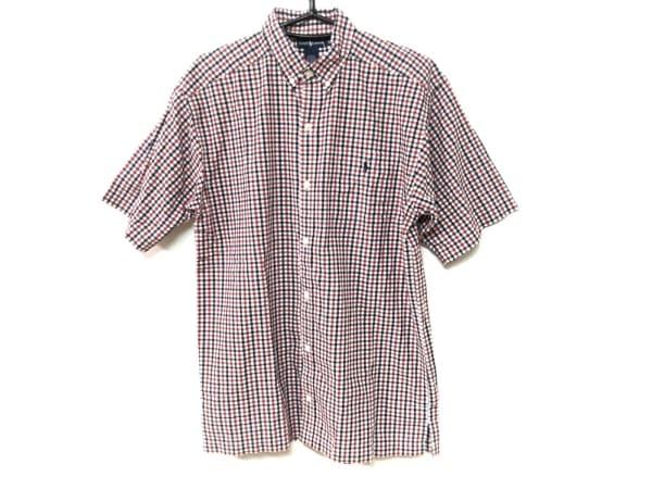 ラルフローレン 半袖シャツ サイズXL メンズ レッド×ネイビー×白 チェック柄