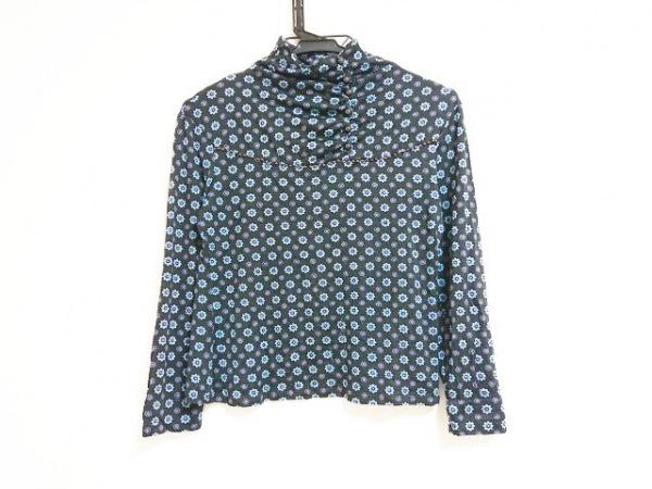 ヒロコビス 長袖カットソー サイズ9 M レディース 黒×ライトブルー×パープル 花柄