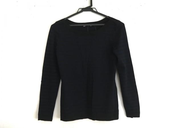 セオリーリュクス 長袖セーター サイズ38 M レディース美品  黒×ネイビー ボーダー