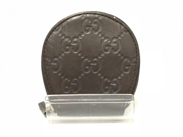 GUCCI(グッチ) コインケース シマライン 212210 ダークブラウン レザー