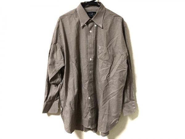 ダンヒル 長袖シャツ サイズ33 1/2 メンズ美品  ブラウン×白 チェック柄