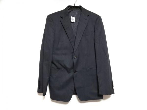 コムサメン ジャケット サイズ46 XL メンズ グレー×ライトグレー ストライプ