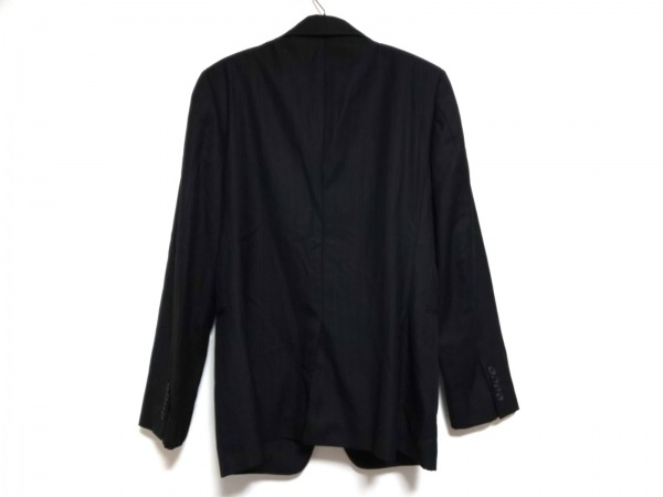 COMME CA MEN(コムサメン) ジャケット サイズ46 XL メンズ 黒×グレー ストライプ