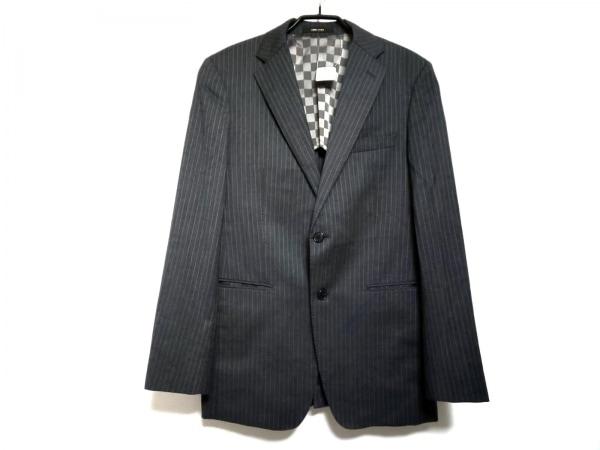 COMME CA MEN(コムサメン) ジャケット サイズ46 XL メンズ グレー×白 ストライプ