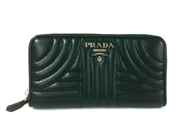 PRADA(プラダ) 長財布美品  - 1ML506 黒 ラウンドファスナー レザー