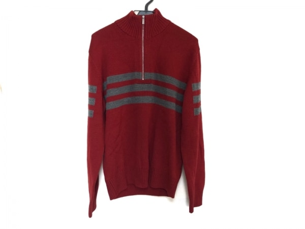 Zegna Sport(ゼニア) 長袖セーター メンズ美品  レッド×グレー