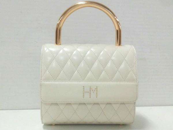 HANAE MORI(ハナエモリ) ハンドバッグ 白×ゴールド キルティング レザー×金属素材