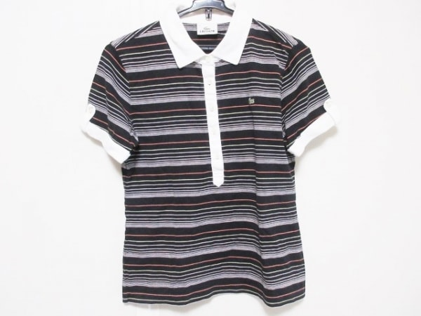 Lacoste(ラコステ) 半袖ポロシャツ サイズ42 L レディース 黒×白×マルチ