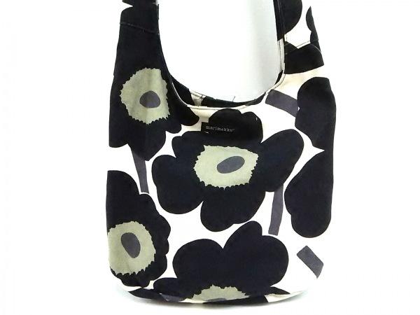 marimekko(マリメッコ) ショルダーバッグ アイボリー×黒×マルチ 花柄 キャンバス