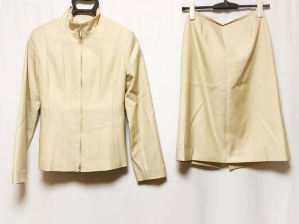 フィガロ スカートスーツ レディース ベージュ ジップアップ/肩パッド/ハイネック